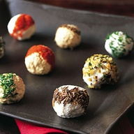 Goat cheese balls rolled in parsley, paprika, chives, chopped walnut