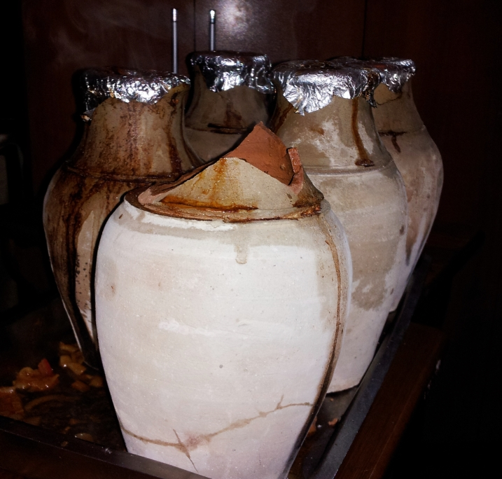 Cooking jugs filled with tasty stew