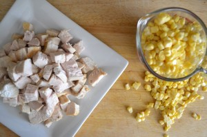 chicken and corn ready for the soup pot