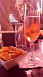 Sparkling rose and house made chips to start things off